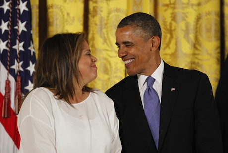 President Barack Obama chats with actress, playwright, and professor Anna Deavere Smith