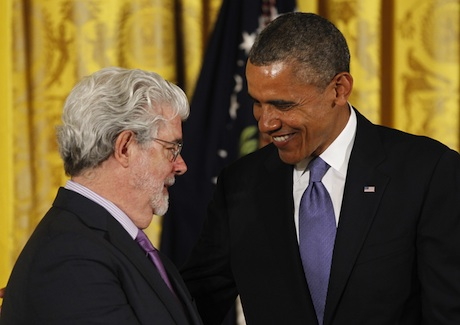 President Barack Obama chats with George Lucas